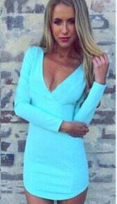 V Neck Slim Bodycon Blue Dress
