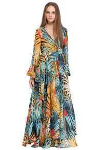 Rainforest Print Self-tied Crepe Patterned Maxi Dress