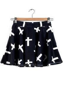 Elastic Waist Cross Print Pleated Skirt