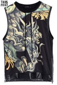 Chinese Dragon Black Tank Top