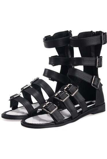 Black Back Zipper Buckle Strap Flat Tall Sandals