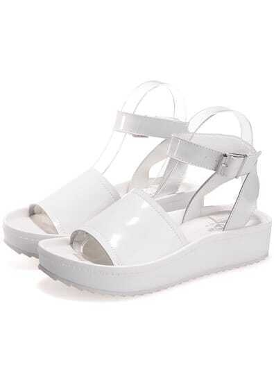 White Buckle Strap Heavy-bottomed Sandals