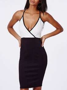 Black White Bodice Spaghetti Strap Stunning Backless Color Block Dress