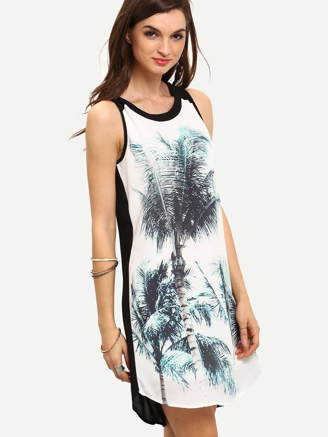 White Black Sleeveless Inch Trees Print Dress