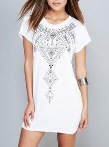 White Short Sleeve Backless Geometric Print Dress