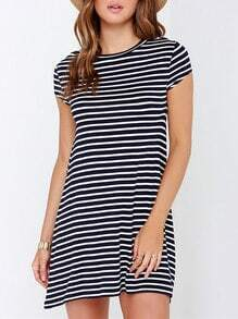 Black Short Sleeve Striped T-shirt Dress