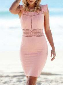 Pink Buisness Cap Sleeve Hollow Zipper Dress