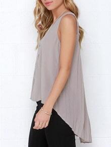 Grey Sleeveless Pleated High Low Blouse