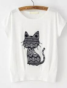 Cat Pattern Patch T-shirt