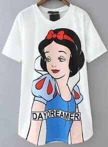 Snow White Print Loose T-shirt