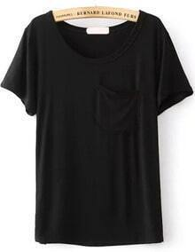 Round Neck With Pocket Black T-shirt