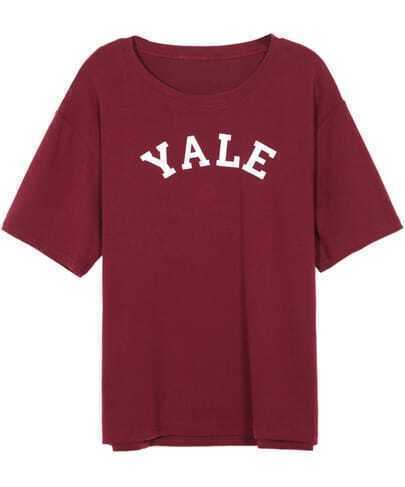 Round Neck Letters Print Wine Red T-shirt