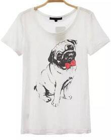 Dog Print Loose T-shirt