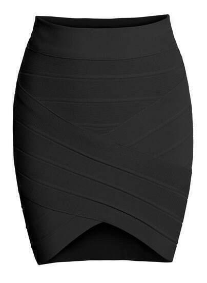 Irregular Hem Bodycon Black Skirt
