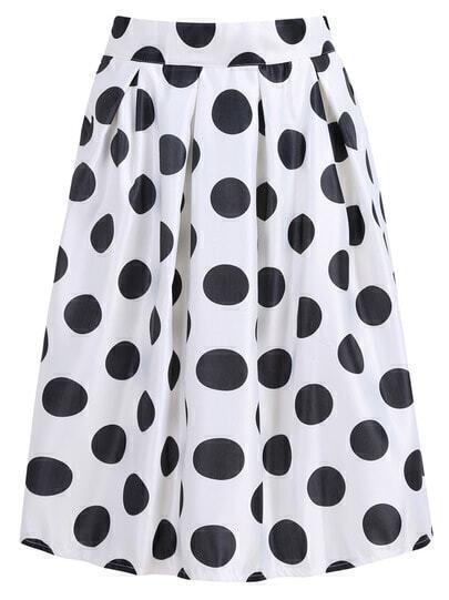 With Zipper Polka Dot White Skirt