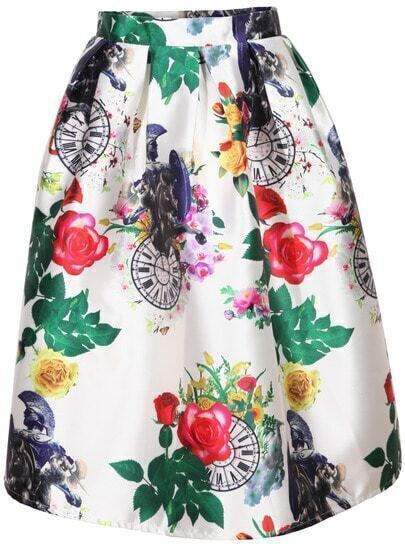 Florals With Zipper Flare Midi Skirt