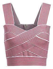 Strap Striped Red Cami Top