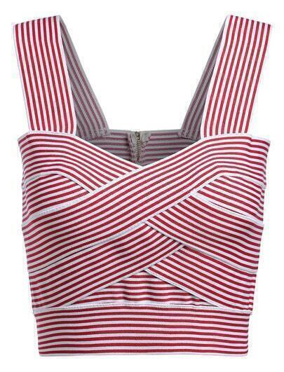 Strap Striped Red Cami Top