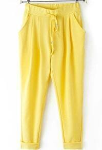 Drawstring With Pockets Harem Yellow Pant