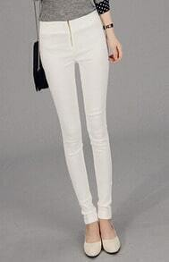 With Zipper Slim White Pant