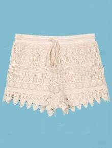 Crochet Layered Lace Drawstring Waist Beige Shorts