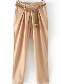 Pockets Belt Apricot Pant