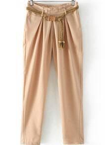 Pockets Belt Apricot Pant