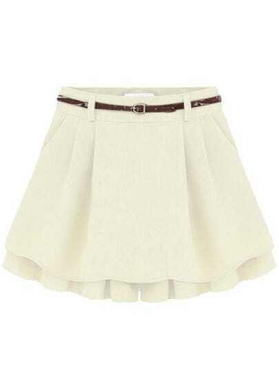 Pleated White Skirt Shorts