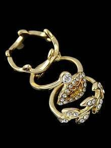 Gold Diamond Leaves Three Fingers Rings