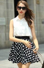 White Black Lapel Sleeveless Polka Dot Dress