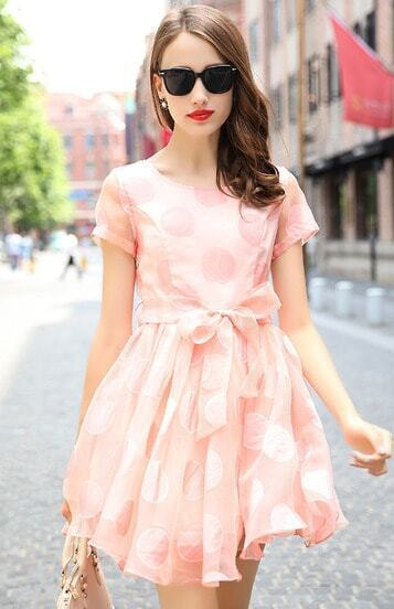 Pink Short Sleeve Polka Dot Organza Dress