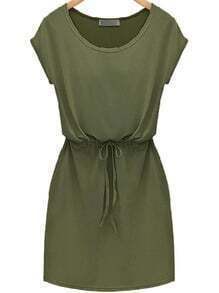 Green Short Sleeve Drawstring Slim Dress