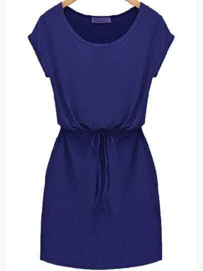 Blues Workwear Short Sleeve Drawstring Slim Dress
