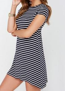 Black White Short Sleeve Striped Loose Dress