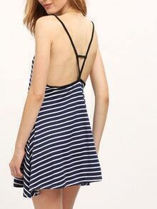 Navy Spaghetti Strap Striped Backless Dress