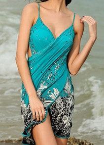 Turquoise Spaghetti Strap Floral Beach Dress