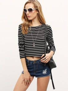 Black Long Sleeve Striped Crop T-Shirt