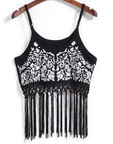 Spaghetti Strap With Tassel Embroidered Black Cami Top