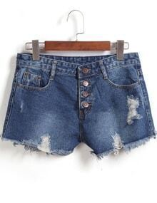 Single-breasted Ripped Fringe Denim Shorts