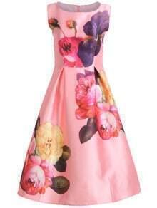 Sleeveless Florals Flare Dress
