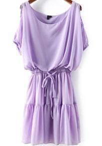 Cold Shoulder Chiffon Pleated Dress