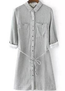 Lapel With Pockets Shirt Dress