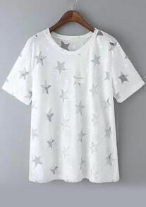 With Sheer Mesh Star Pattern White T-shirt