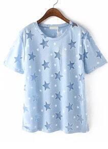 With Sheer Mesh Star Pattern Blue T-shirt
