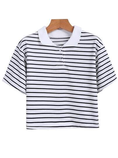 Lapel Striped Crop White T-shirt