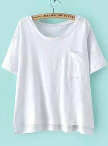 Dip Hem With Pocket White T-shirt