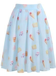 Cake Print Pleated Chiffon Skirt