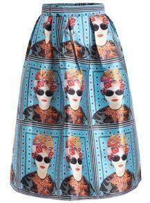 With Zipper Girl Print Pleated Blue Skirt