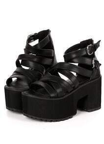 Black Buckle Cross Strap Chunky Heel Sandals