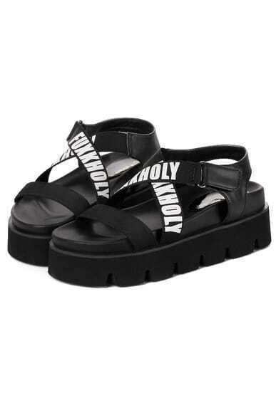 Black Cross Letters Print Sandals